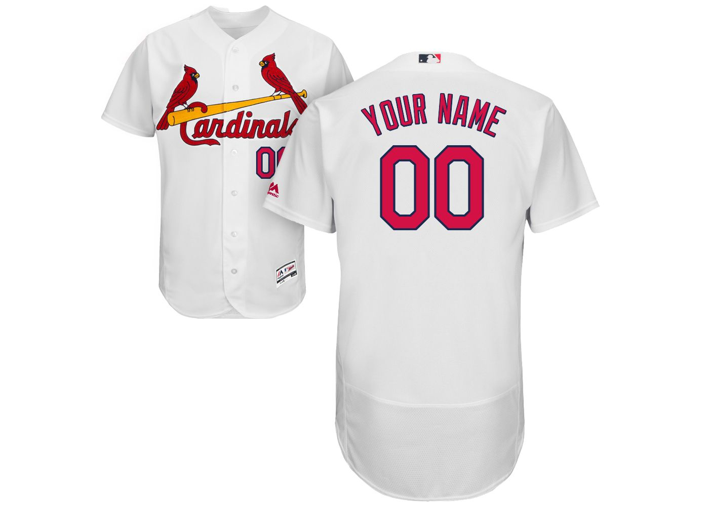 Majestic Men's Custom Authentic St. Louis Cardinals Flex Base Home White On-Field Jersey
