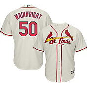 Majestic Men's Replica St. Louis Cardinals Adam Wainwright #50 Cool Base Alternate Ivory Jersey