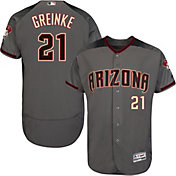 Majestic Men's Authentic Arizona Diamondbacks Zack Greinke #21 Flex Base Road Grey On-Field Jersey