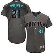 Majestic Men's Authentic Arizona Diamondbacks Zack Greinke #21 Flex Base Alternate Road Grey On-Field Jersey