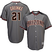 Majestic Men's Replica Arizona Diamondbacks Zack Greinke #21 Cool Base Road Grey Jersey
