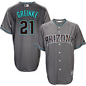 Majestic Men's Replica Arizona Diamondbacks Zack Greinke #21 Cool Base Alternate Road Grey Jersey