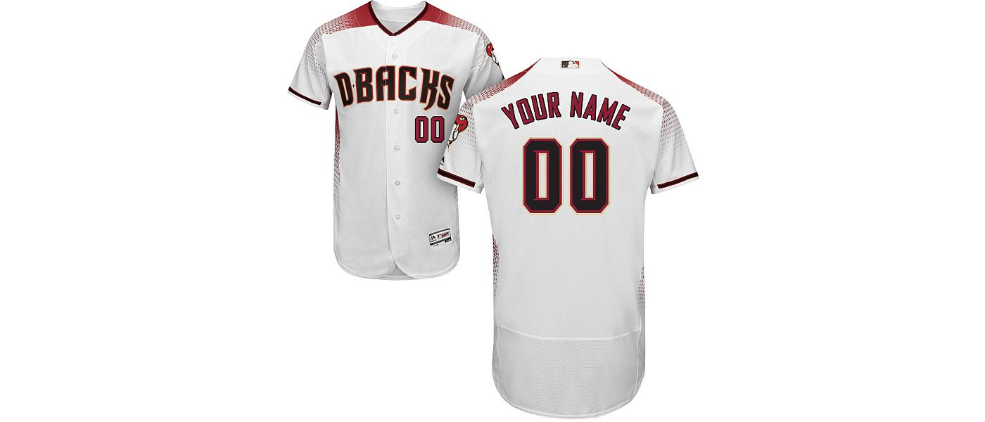Majestic Men's Custom Authentic Arizona Diamondbacks Flex Base Home White On-Field Jersey