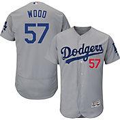 Majestic Men's Authentic Los Angeles Dodgers Alex Wood #57 Alternate Road Grey Flex Base On-Field Jersey