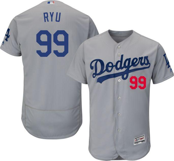 best service 35364 f17bc Majestic Men's Authentic Los Angeles Dodgers Hyun-jin Ryu #99 Alternate  Road Grey Flex Base On-Field Jersey