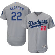 Majestic Men's Authentic Los Angeles Dodgers Clayton Kershaw #22 Alternate Road Grey Flex Base On-Field Jersey