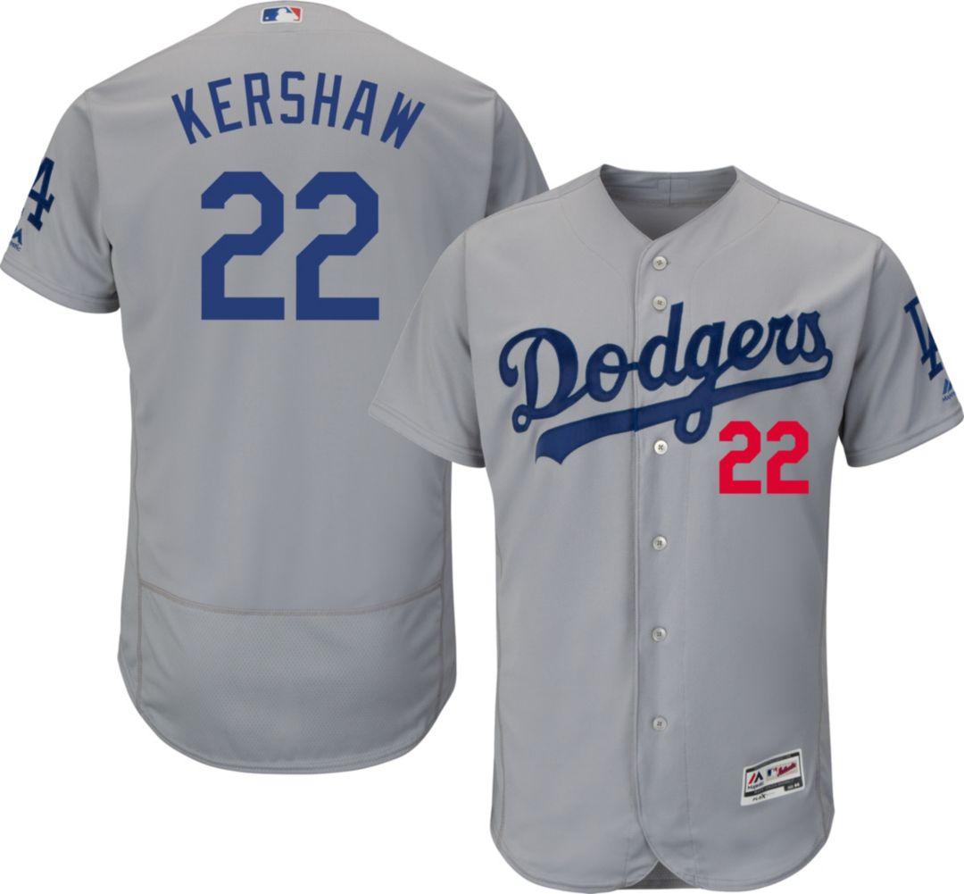 62c6fd7f Majestic Men's Authentic Los Angeles Dodgers Clayton Kershaw #22 Alternate  Road Grey Flex Base On