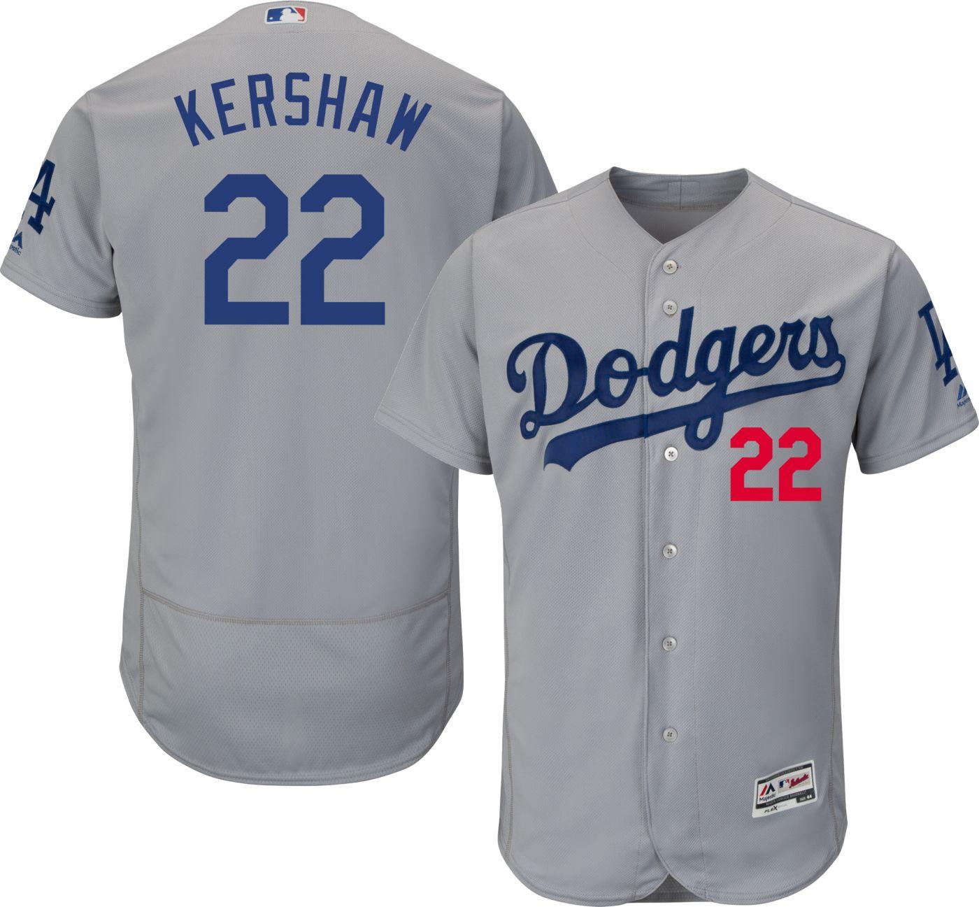 Majestic Men's Authentic Los Angeles Dodgers Clayton Kershaw #22 Alternate Road Grey Flex Base On-Field Jersey