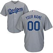 Majestic Men's Custom Cool Base Replica Los Angeles Dodgers Alternate Road Grey Jersey