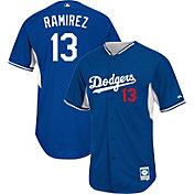 Majestic Men's Authentic Los Angeles Dodgers Hanley Ramirez #13 Royal Cool Base Batting Practice Jersey