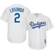 Majestic Men's Replica Los Angeles Dodgers Tommy Lasorda Cool Base White Cooperstown Jersey