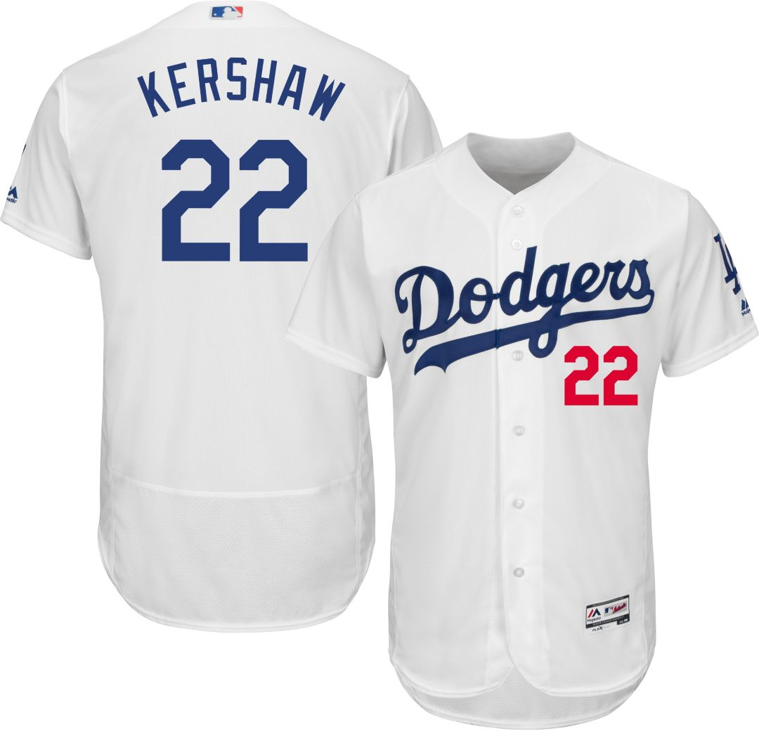 san francisco eaea6 31995 Majestic Men's Authentic Los Angeles Dodgers Clayton Kershaw #22 Home White  Flex Base On-Field Jersey