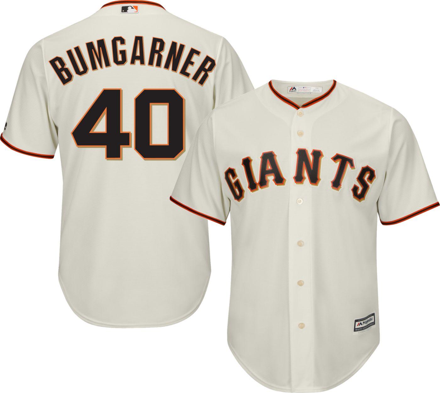Majestic Men's Replica San Francisco Giants Madison Bumgarner #40 Cool Base Home Ivory Jersey