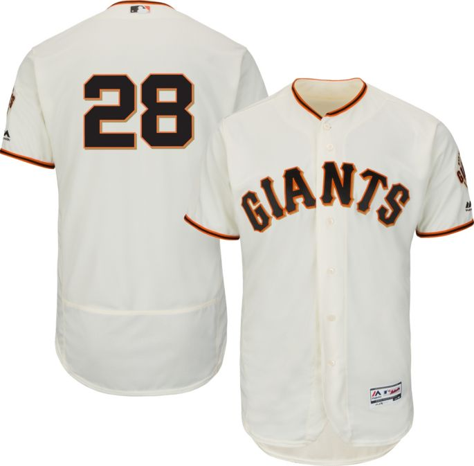 cheap for discount 8b4a1 e0967 Majestic Men's Authentic San Francisco Giants Buster Posey #28 Home Ivory  Flex Base On-Field Jersey