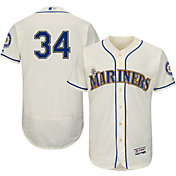 Majestic Men's Authentic Seattle Mariners Felix Hernandez #34 Alternate Ivory Flex Base On-Field Jersey