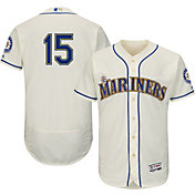 Majestic Men's Authentic Seattle Mariners Kyle Seager #15 Alternate Ivory Flex Base On-Field Jersey