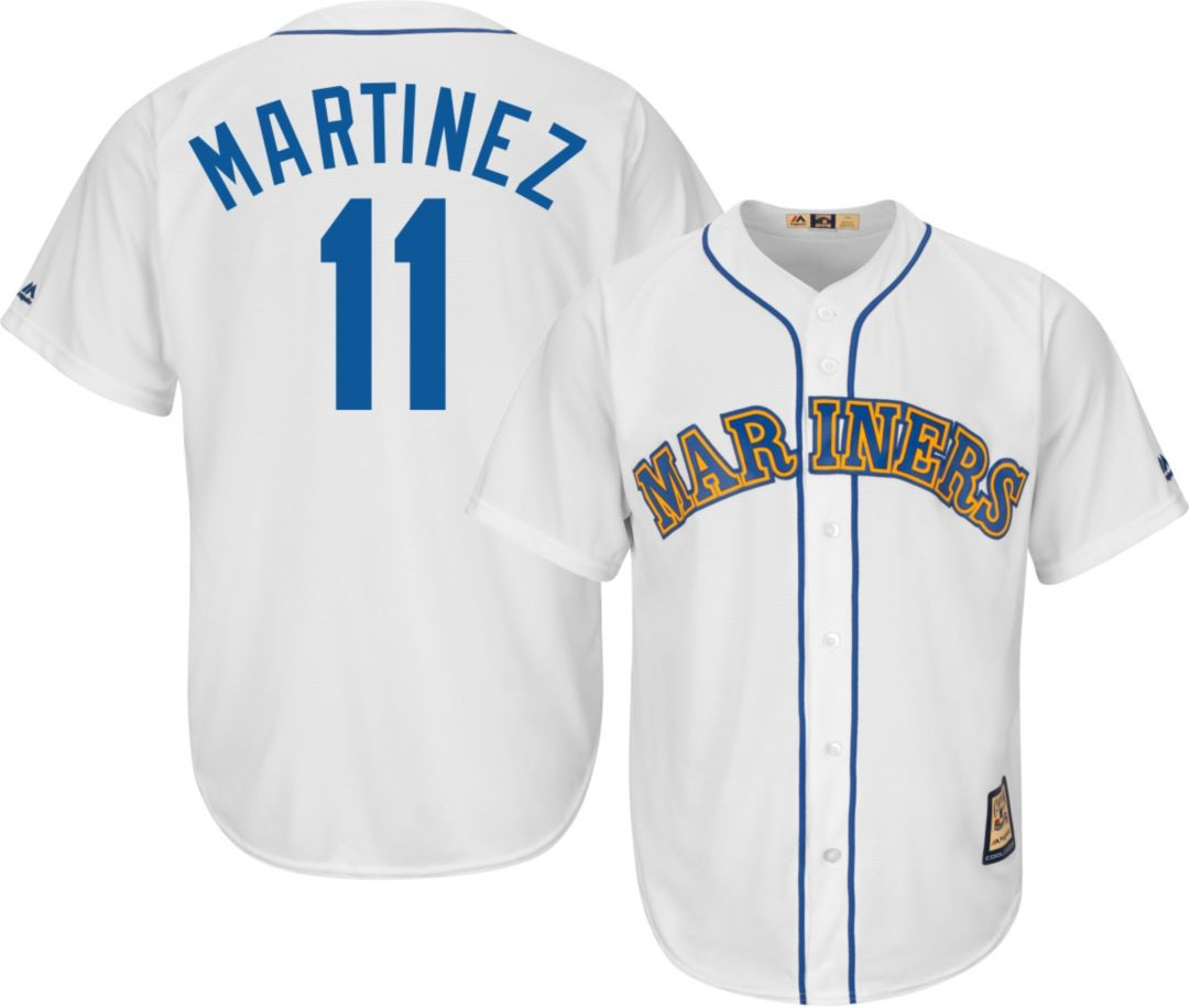 new concept ef546 af113 Majestic Men's Replica Seattle Mariners Edgar Martinez Cool Base White  Cooperstown Jersey