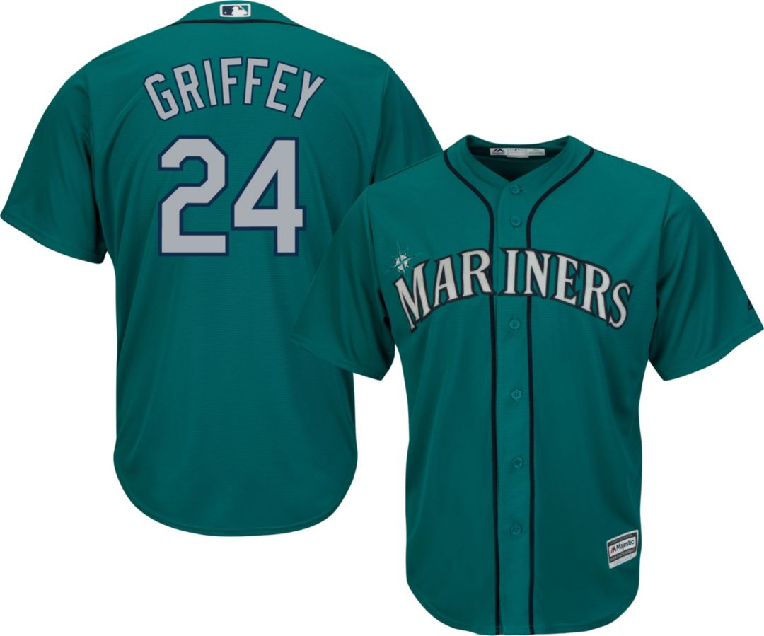 timeless design a7d2f 77900 Majestic Men's Replica Seattle Mariners Ken Griffey Jr. #24 Cool Base  Alternate Teal Jersey