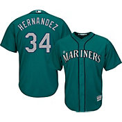 Majestic Men's Replica Seattle Mariners Felix Hernandez #34 Cool Base Alternate Teal Jersey