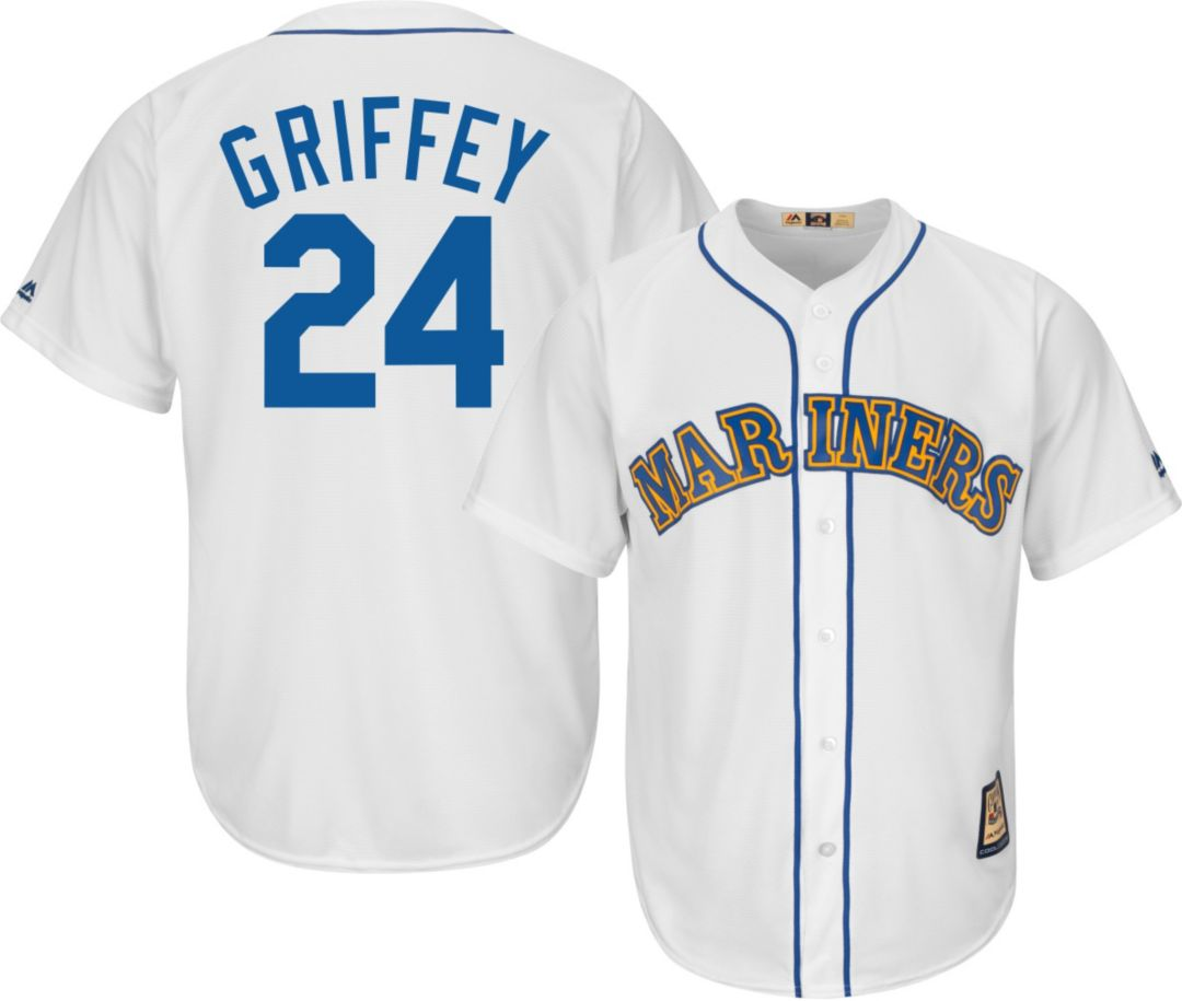 cheap for discount f0717 bacb0 Majestic Men's Replica Seattle Mariners Ken Griffey Jr. Cool Base White  Cooperstown Jersey