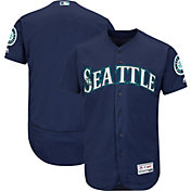 Majestic Men's Authentic Seattle Mariners Alternate Navy Flex Base On-Field Jersey