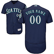 Majestic Men's Custom Authentic Seattle Mariners Flex Base Alternate Navy On-Field Jersey
