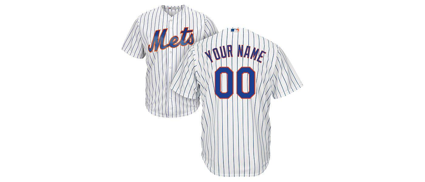 Majestic Men's Custom Cool Base Replica New York Mets Home White Jersey