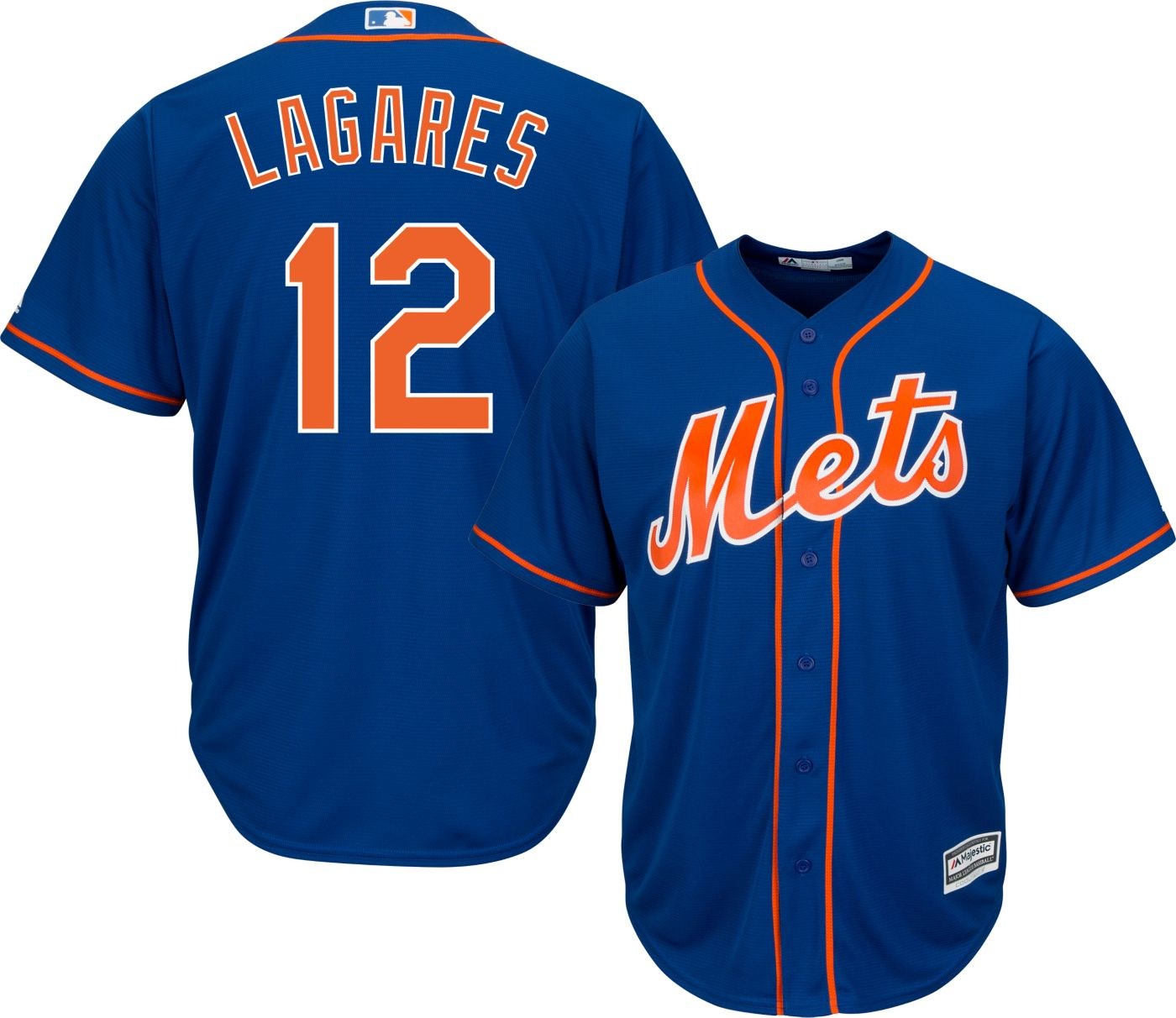 Majestic Men's Replica New York Mets Juan Lagares #12 Cool Base Alternate Home Royal Jersey
