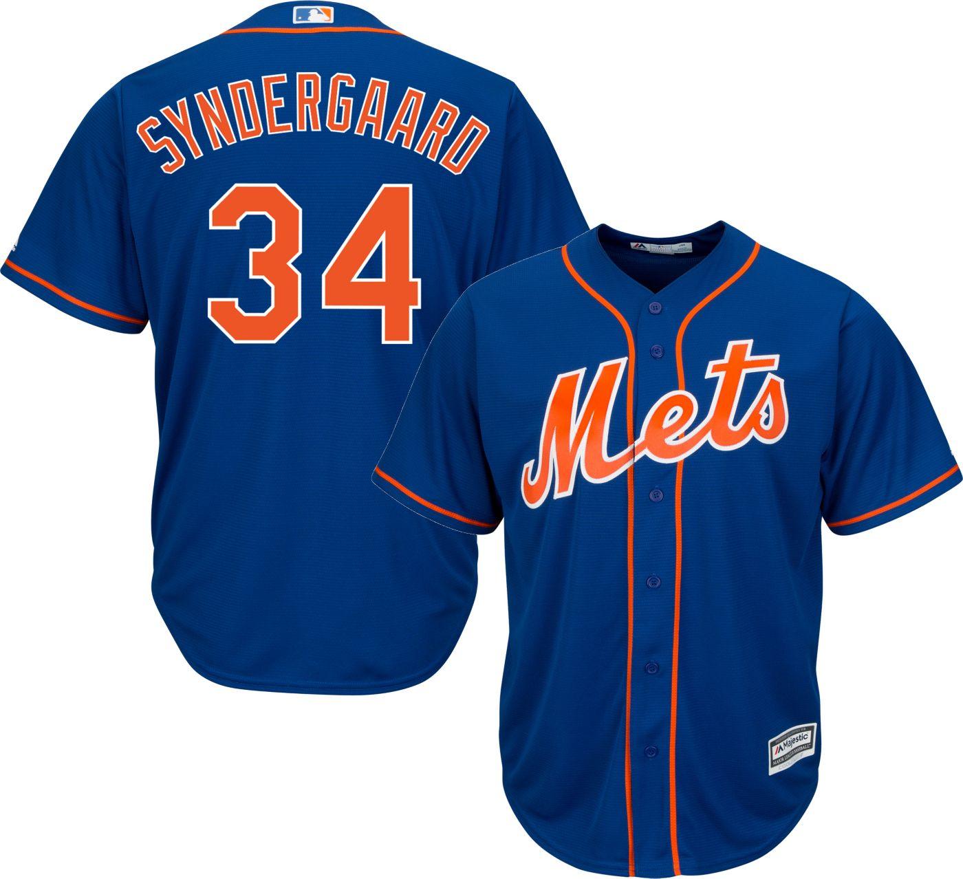Majestic Men's Replica New York Mets Noah Syndergaard #34 Cool Base Alternate Home Royal Jersey