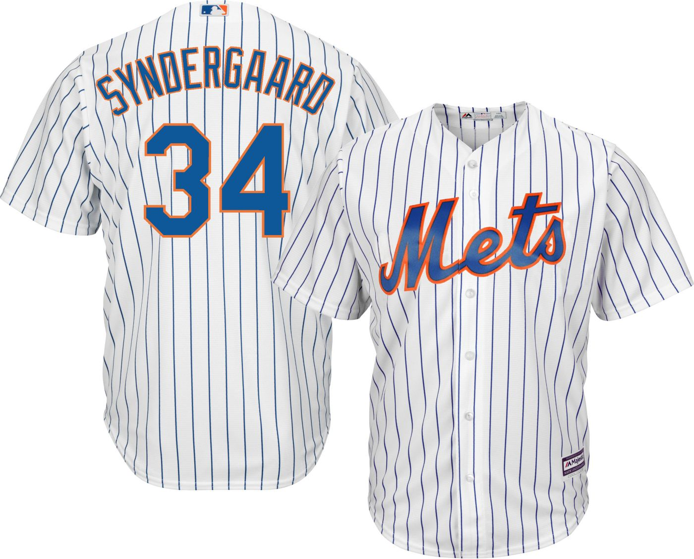 Majestic Men's Replica New York Mets Noah Syndergaard #34 Cool Base Home White Jersey