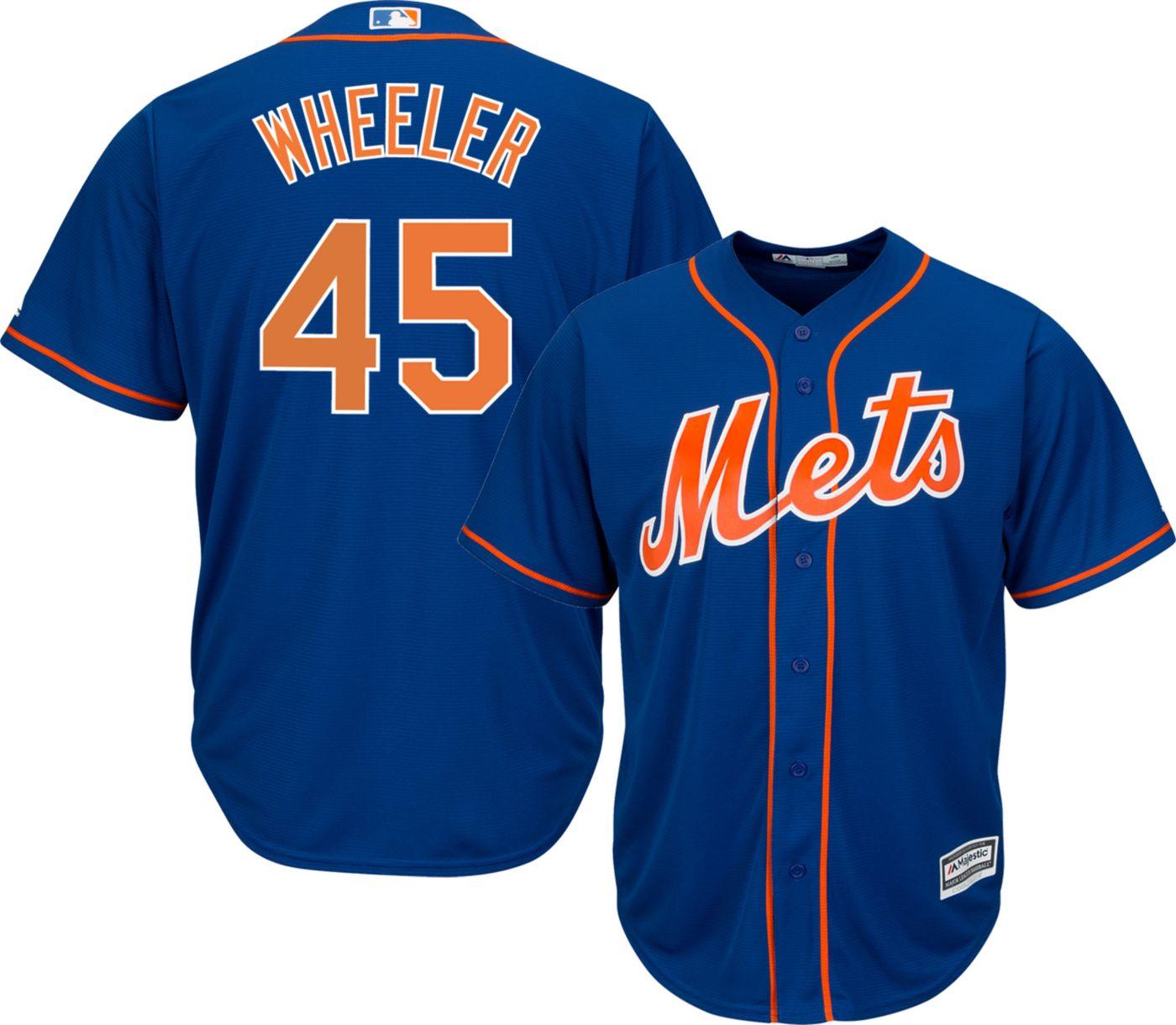 Majestic Men's Replica New York Mets Zack Wheeler #45 Cool Base Alternate Home Royal Jersey