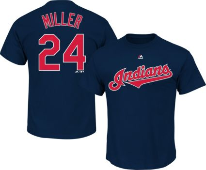 Majestic Men s Cleveland Indians Andrew Miller  23 Navy T-Shirt ... b999bb96f