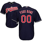 Majestic Men's Custom Cool Base Replica Cleveland Indians Alternate Navy Jersey