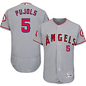 Majestic Men's Authentic Los Angeles Angels Albert Pujols #5 Road Grey Flex Base On-Field Jersey
