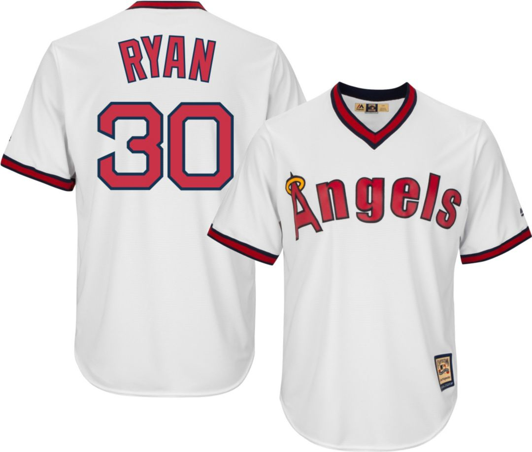 separation shoes a3e5d de700 Majestic Men's Replica California Angels Nolan Ryan Cool Base White  Cooperstown Jersey