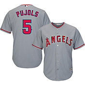 Majestic Men's Replica Los Angeles Angels Albert Pujols #5 Cool Base Road Grey Jersey