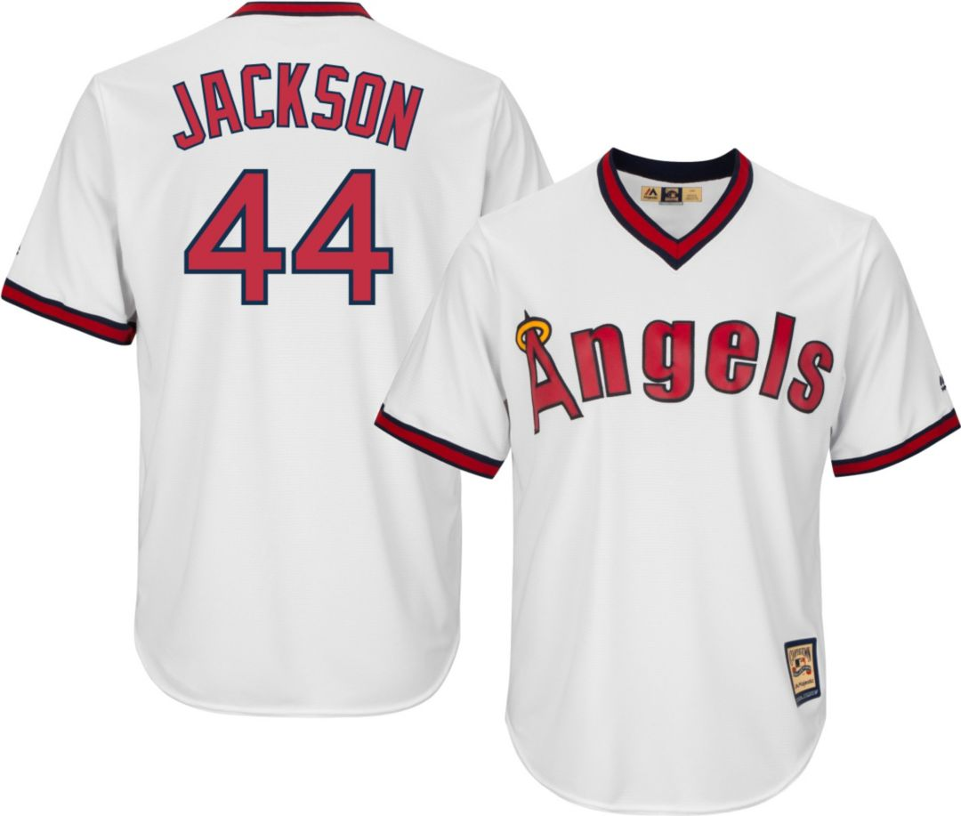 premium selection fb73c ed6c2 Majestic Men's Replica California Angels Reggie Jackson Cool Base White  Cooperstown Jersey