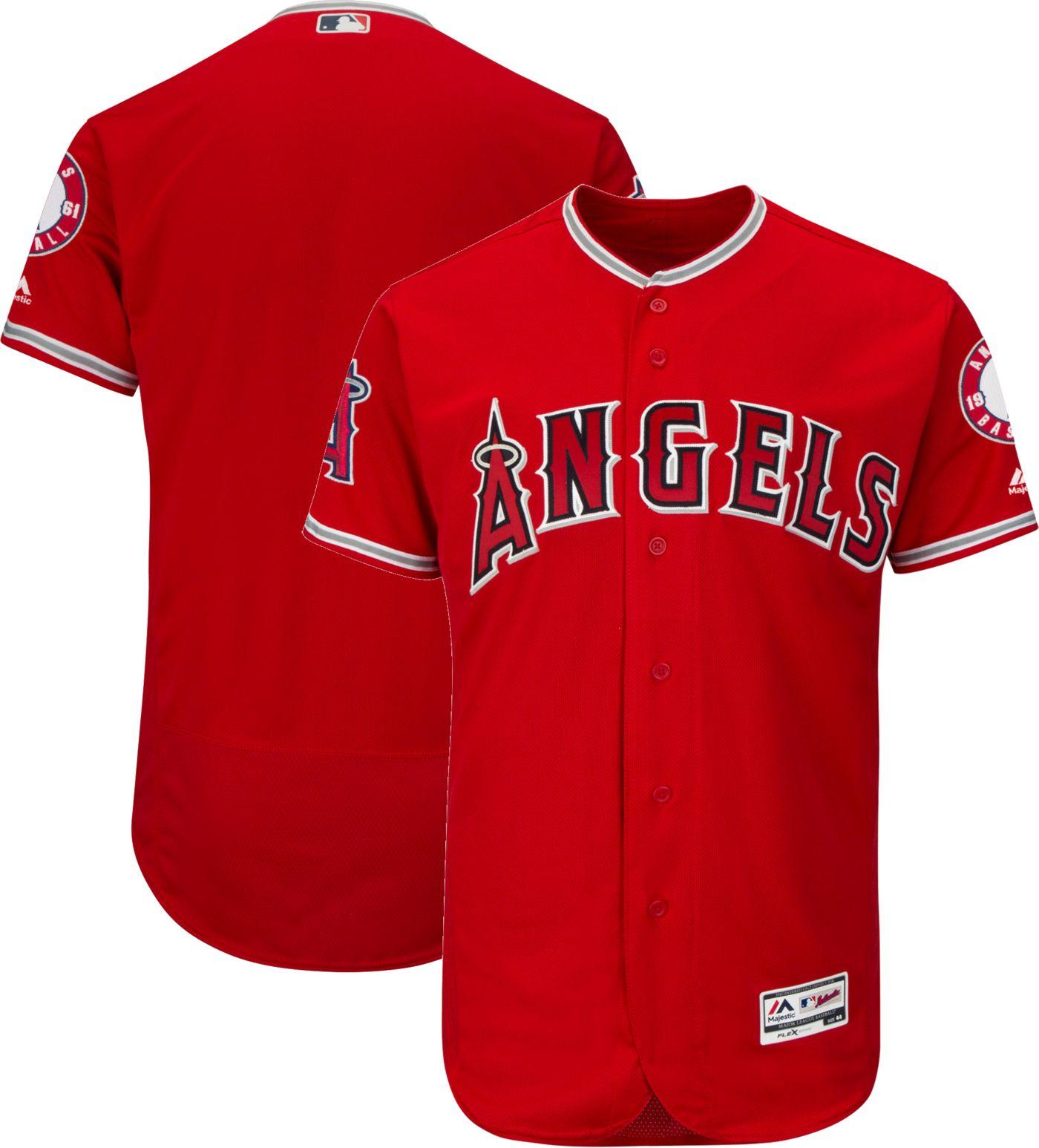 Majestic Men's Authentic Los Angeles Angels Alternate Red Flex Base On-Field Jersey