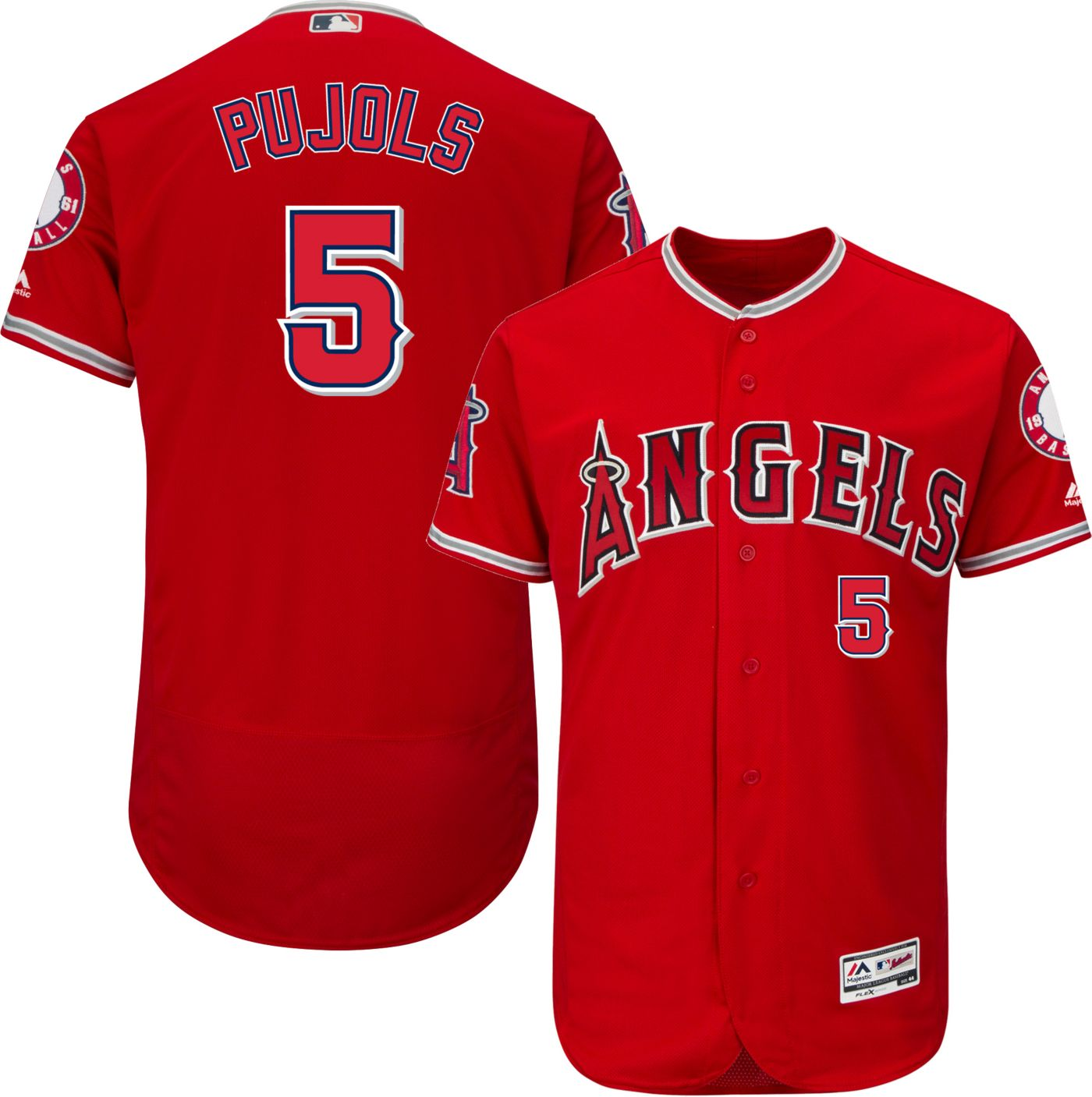 Majestic Men's Authentic Los Angeles Angels Albert Pujols #5 Alternate Red Flex Base On-Field Jersey