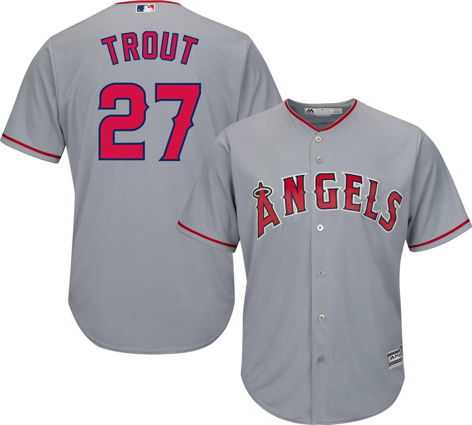 ... reduced majestic mens replica los angeles angels mike trout 27 cool base  road grey jersey b0188 a48217535