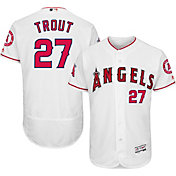 Majestic Men's Authentic Los Angeles Angels Mike Trout #27 Home White Flex Base On-Field Jersey