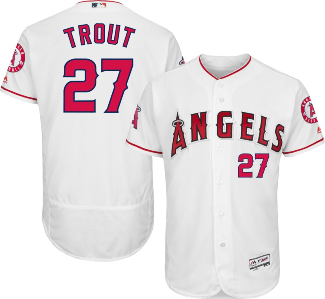 check out c70a0 19342 Majestic Men's Authentic Los Angeles Angels Mike Trout #27 Home White Flex  Base On-Field Jersey