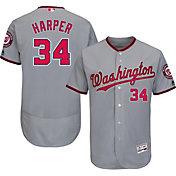 Majestic Men's Authentic Washington Nationals Bryce Harper #34 Road Grey Flex Base On-Field Jersey