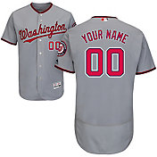 Majestic Men's Custom Authentic Washington Nationals Flex Base Road Grey On-Field Jersey
