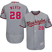 Majestic Men's Authentic Washington Nationals Jayson Werth #28 Road Grey Flex Base On-Field Jersey