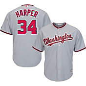 Majestic Men's Replica Washington Nationals Bryce Harper #34 Cool Base Road Grey Jersey