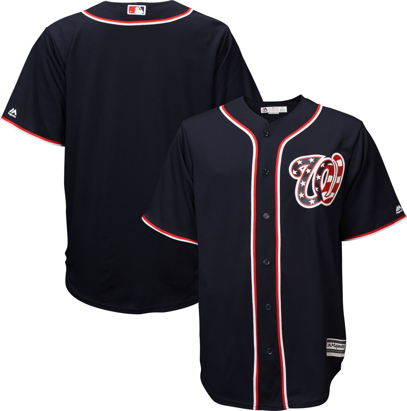 Majestic Men's Replica Washington Nationals Cool Base Alternate Navy Jersey