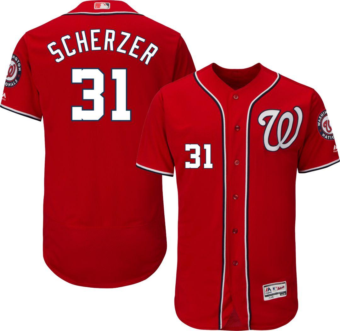 new styles 7820c 3cacd Majestic Men's Authentic Washington Nationals Max Scherzer #31 Alternate  Red Flex Base On-Field Jersey