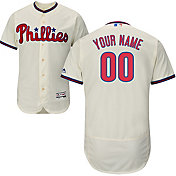 Majestic Men's Custom Authentic Philadelphia Phillies Flex Base Alternate Ivory On-Field Jersey