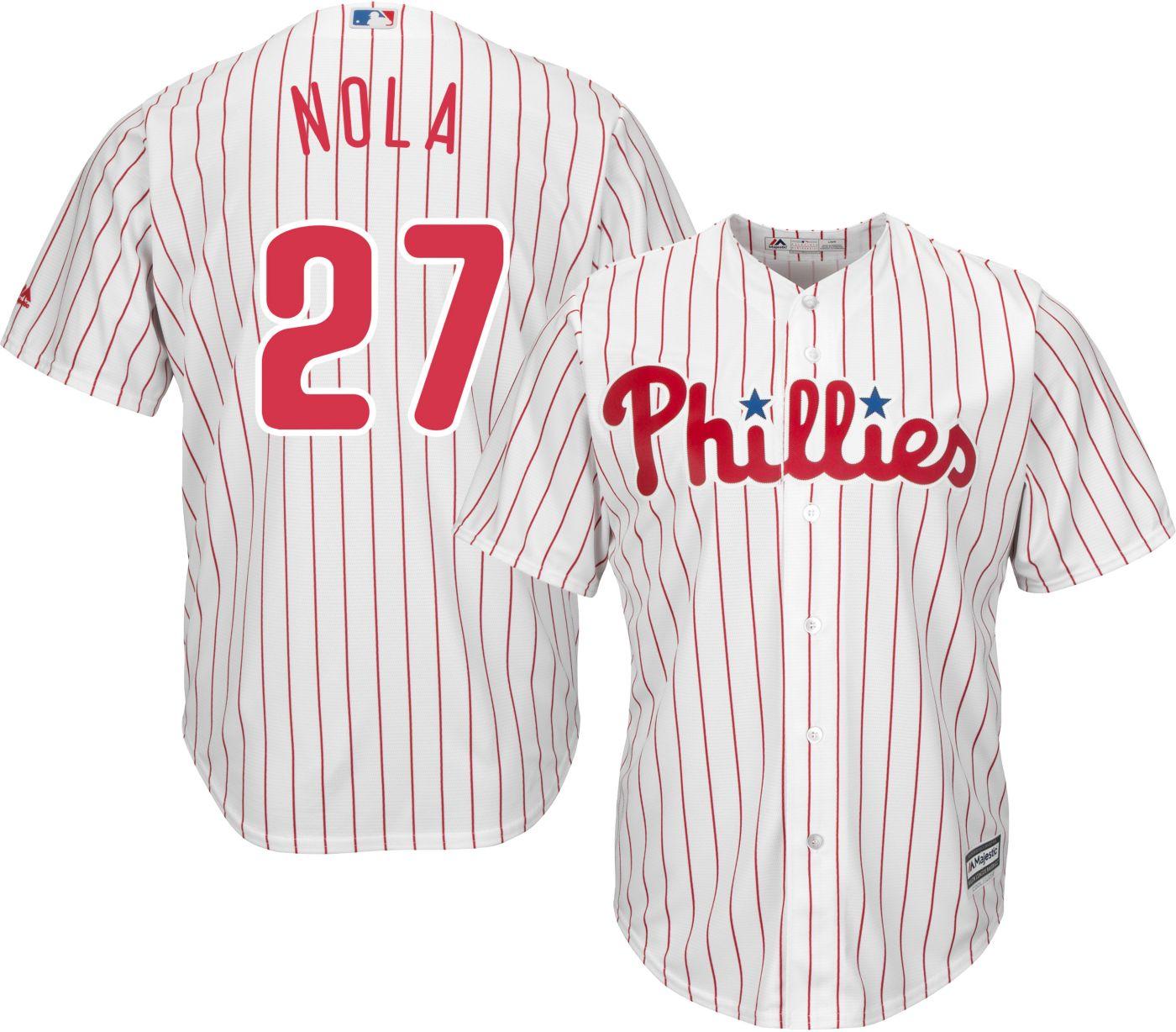 Majestic Men's Replica Philadelphia Phillies Aaron Nola #27 Cool Base Home White Jersey